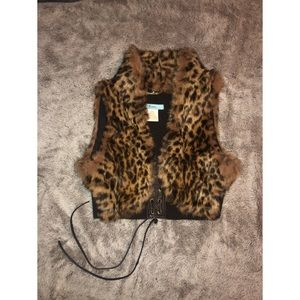 MARCIANO : leopard fur lace up cropped crop / M